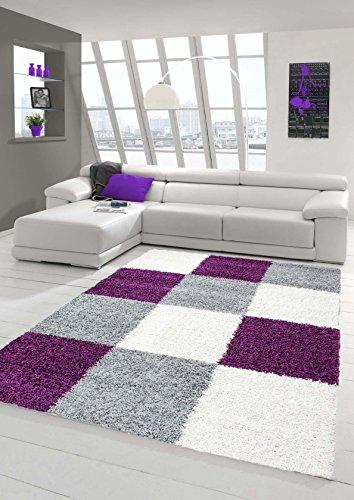 Shaggy Teppich Hochflor Langflor Teppich Wohnzimmer Teppich Gemustert in Karo Design Lila Grau Creme Größe 80x150 cm