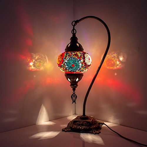 Mosaik-Lampe – türkisches Mosaik-Tisch- und Schreibtischlampe, atemberaubender marokkanischer Stil, einzigartiger Globus Lampenschirm, Schwanenhals Serie (Citrin) -