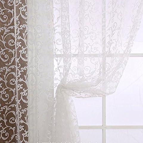 Moresave Blumen Tüll Gardine Schals Valance Voile Tür Fenster Vorhang
