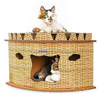 Carton Ondulé pour Chat en Papier Cartonné Demi-Cercle Design Cat
