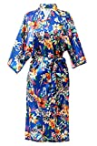 Women's Kimono Robe Long Robes Silky Satin Robe Bathrobe(Blue,XL)