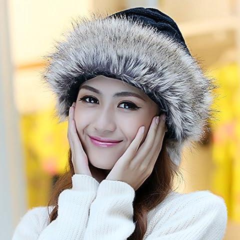 Dngy*Ms. Inverno cappello spessore delizioso caldo inverno maglione Knit Hat elegante pelliccia di coniglio cappelli di erba , nero