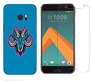 Snoogg Blue Sheep Combo Designer Protective Back & Shatter Proof Tempered Glass For HTC DESIRE 10 LIFESTYLE