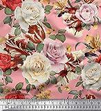 Soimoi Rosa Seide Stoff Blätter & Rose Blumen- Stoff