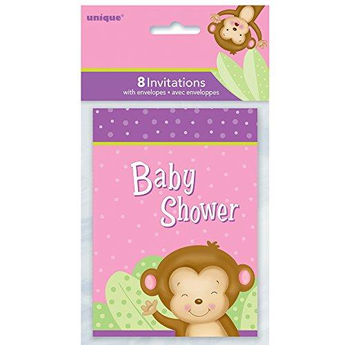 s Mädchen Monkey Baby Dusche Einladungen, 8Stück ()