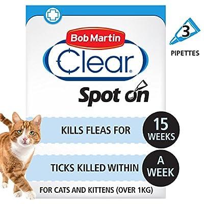 Bob Martin Flea & Tick Clear Fipronil Cat Spot on Solution, 3 Tubes from Bob Martin