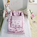 Babybett tragen Quilt (0-24 Monate) Abnehmbare Baby isoliert Bett Neugeborenes Baby schlafen Artefakt zusammenklappbar bionische Bett (Sternenhimmel rosa)