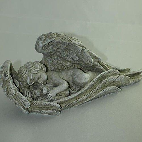 Deko Engel im Flügel liegend mit Hunde Figur liebevoll im Arm beschützend. Länge 24cm (Hund Figur Engel)