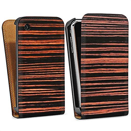 Apple iPhone 4 Housse Étui Silicone Coque Protection Sol en bois Grain Look bois Sac Downflip noir