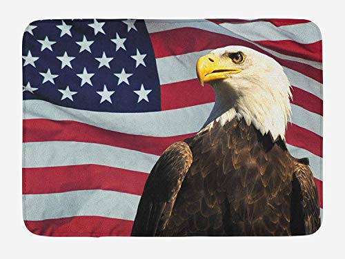 Eagle Bath Mat, United States of America Flag with Symbol of The Country Looking into The Horizon, Plush Bathroom Decor Mat with Non Slip Backing, 23.6 W X 15.7 W Inches, Multicolor