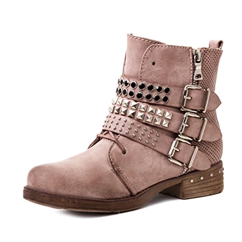 Marimo Damen Nieten Stiefel Biker Boots mit Schnallen Stiefeletten in Lederoptik Pink 36
