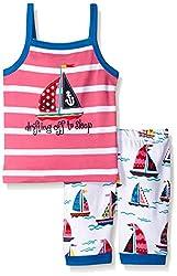 Hatley Big Girls Patterned Sailboats Tank PJ Set, Pink, 8