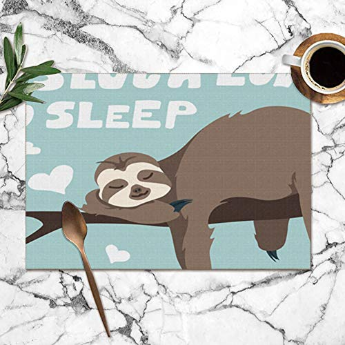 Pillow Socks Cute Greeting Card Sloth Hand Drawn Animals Wildlife Amazon Washable Placemats for Dining Table Double Fabric Printing Polyester Place Mats for Kitchen Table Set of 6 Table Mat 12'X18'