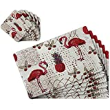 TIED RIBBONS Dinning Table Mats Set Of 6 With Coasters (42 Cm X 28 Cm, PVC)