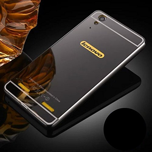 KPH Luxury Mirror Effect Acrylic back + Metal Bumper Case Cover for Lenovo A6000 / A6000 Plus Black