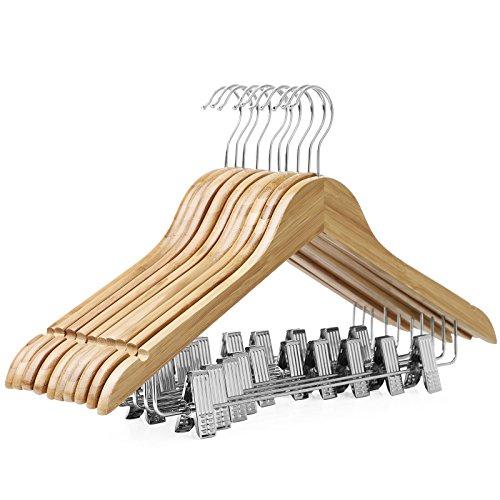SONGMICS Kleiderbügel Holz Hosenbügel mit Clips, 10er Set, Bambus, Rutschfeste Anzugbügel für Röcke, Hosen, Jacken and Anzüge, 360 drehbarer Haken, 44,5 cm CRW12N-10, Naturfarben, -