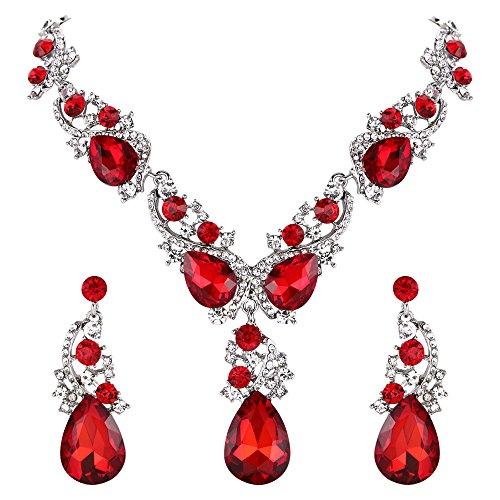 Clearine Damen Hochzeit Braut Kristall Viel Tropfen Cluster Statement Halskette Dangle Ohrringe Set Rubin-Rot Silber-Ton