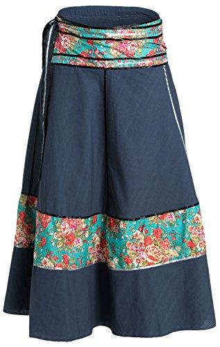 ufash Falda Cruzada - Falda Maxi de la India, con Lazos, Azul Estampado 15