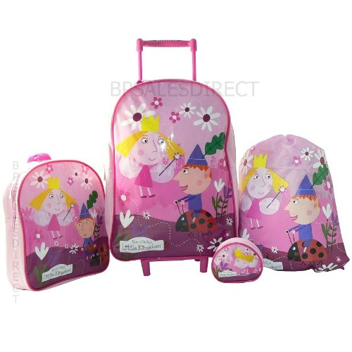 4pcs-ben-and-holly-girls-trolley-wheeled-bag-luggage-set-trolley-backpack-new