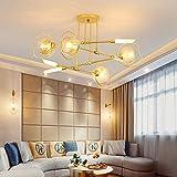 Postmoderna ristorante vetro lampadario LED LAMPADA appeso soggiorno camera da letto lampada a sospensione apparecchi di illuminazione ciondolo, bianco freddo, 6 luci D85cm