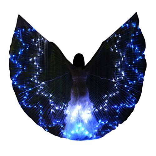 LED Bunte Bauchtanz Isis Wings Dasongff Frauen Engelsflügel Wings Kinder Bauchtanz Performance Kostüm Halloween Weihnachten Cosplay Kostüm Engelsflügel mit Teleskopstock