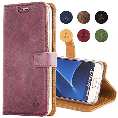 Snakehive® Vintage Collection Samsung Galaxy S7 Vintage-Brieftaschen-Etui aus Nubukleder mit Kreditkarten-/ Banknotenfach (Pflaume)