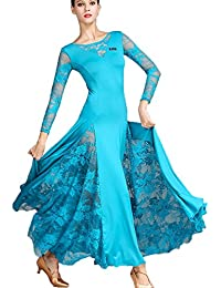 Robes de Danse Modernes pour Femmes Couture de Dentelle Tango Valse Costume  de Danse de Salon 1dc6a96b295