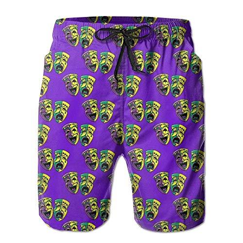 BetterShopDay Zr-Go Men's Mardi Gras Carnival Mask Quick-Dry Summer Beach Surfing Board Shorts Swim Trunks Cargo Shorts
