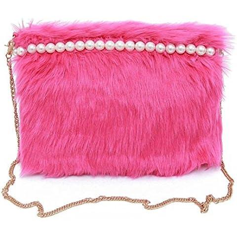 Amlaiworld Donna moda borsetta peluche perla (Rosa caldo)