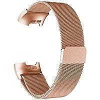 Adepoy Ersatzarmbänder Kompatibel für Fitbit Charge 3 und Charge 3 SE, Milanese Loop Edelstahl Magnetverschluss Armband