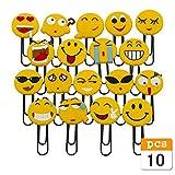 Nette Emoji Lesezeichen, lustige Paperclip Lesezeichen, Neuheit Emoticon Buch Marker für Kinder, Mädchen, Jungen. Schüler (Random 10PCS)