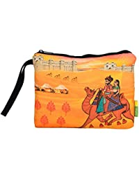 Eco Corner - Indian Art Camel - Pouch - Big - 100% Cotton/Washable/Printed On Both Sides/Zip Closure With Carry...