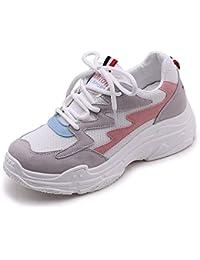 Vansney Moda Mujer Chunky Sneakers Mocasines Confort Señoras Mesh Vamp Zapatos de Trabajo Cordones Planos Entrenadores Deportes Correr Senderismo Grueso Inferior Plataforma Zapatos