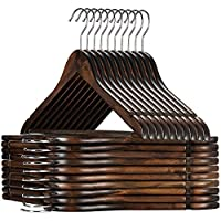 High Quality Wooden Hangers, (20 Pack) Premium Heavy Duty Wooden Coat Hangers with Trouser Bar, Precisely Cut Notches, Extra Smooth Finish, Vintage Wood Clothes Hangers by Zober