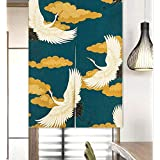 LIGICKY Cortina larga de estilo japonés de lino grueso Noren, cortina para puerta, separador de espacios, tapiz, para textile