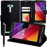 VCOMP Housse Coque Etui portefeuille Support Video Livre rabat cuir PU pour Asus Zenfone Selfie ZD551KL + stylet - NOIR