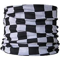 Braga para el cuello, pañuelo de microfibra multifunción, diseño de en blanco y negro a cuadros cocinero