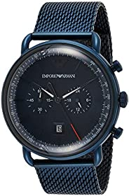 Emporio Armani Men's Blue Dial Stainless Steel Analog Watch - AR1