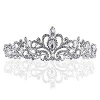 JJOnlineStore - Wedding Bridal Princess Pageant Prom Fashion Stylish Shining Crystal Rhinestones Flower Silver Crown Tiara Vintage Bride Headband (Crystal Rhimestone)