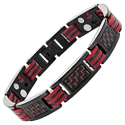 Willis Judd Mens Four Element Magnetic Red Carbon Fiber Black Titanium Bracelet + Link Removal Tool