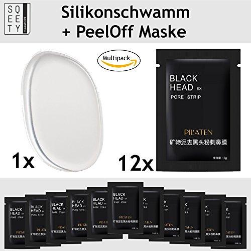 sQeety Original BLACK HEAD Gesichtsmaske 12 Stück Inkl pureQ Silikon Beautyschwamm I Mitesser entfernende peeloff Maske im Set mit Silikonschwamm
