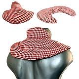 Cuscino del collo, rosso-bianco | Cuscino cervicale | Cuscino termico con semi di lino (forno, microonde)