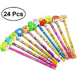 toymy Toy 24pcs dibujos animados grafito lápiz con animales Gomas regalo de cumpleaños para niños niños pequeños