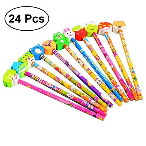 (TOYMYTOY Cartoon Graphit Bleistift mit Tier Radiergummis Geburtstagsgeschenk für Kinder- 24pcs)