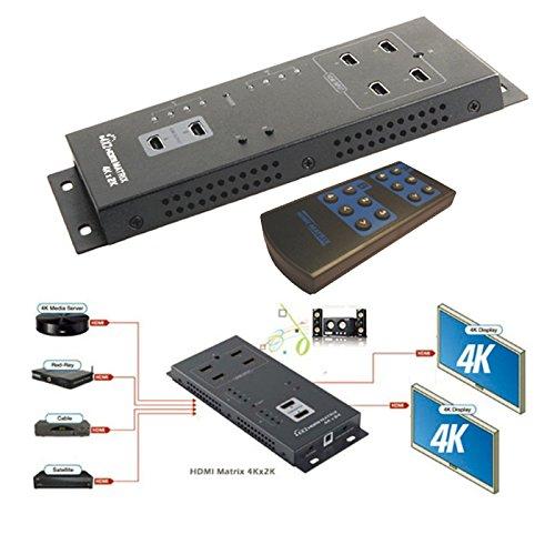 C07 3D 4Kx2K HDMI Matrix 4 IN auf 2 OUT Umschalter Switch mit Fernbedienung TV, HDMI 1.4 3D Matrix Switch zum bequemen Schalten vierer HDMI Quellgeräte an zwei TV Geräte oder Monitor, Umschalten auf das zuletzt aktivierte Gerät manuell oder über die mitgelieferte Fernbedienung, HDMI Auflösungen: 480i/p, 576i/p, 720p, 1080i/p, 4Kx2K, Unterstützung von DSD, HD(HBR) Audio-Formate, Bandbreite: 10,2Gbps, Vertikal Frequenz: 60 Hz, 390g Gewicht, Farbe Schwarz