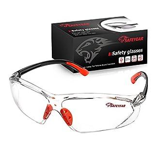 SAFEYEAR Gafas Ciclismo Hombre Con Lentes Antivaho y Transparente – Gafas Protectoras Para Trabajo SG003 Color Negro y Naranja