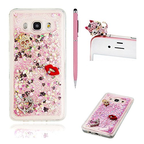 Price comparison product image For Samsung Galaxy J5 2016 Case Glitter Cover , SKYXD Novelty Creative Design Flowing Liquid Floating [ Pink - Red lip ] Crystal Clear Glitter Bling Sparkle Shinny Soft TPU Gel Rubber Back Protection Case Cover For Samsung Galaxy J5 2016 +Pink Stylus +Sleeping cats Dust Plug