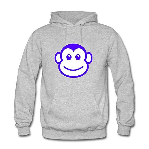 eeve Hoodies Cool Cute Monkey Animal Printed Unisex Kapuzenpullover Outwear Grey XXL (Cute Monkey Tattoos)