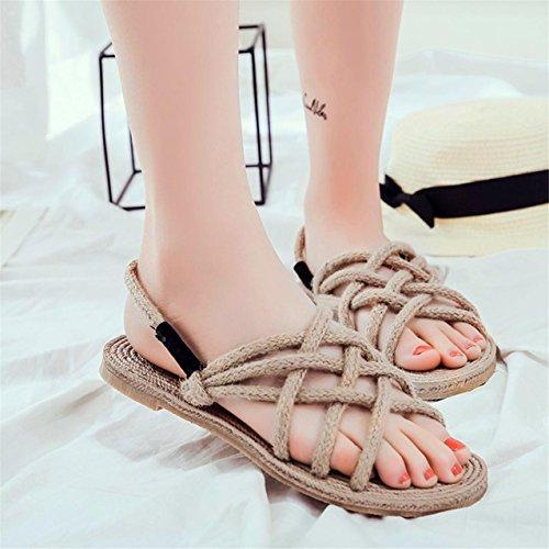 LHWY Damen Retro Damen Handmade Hanf Knitting shoes Strand Grass Sandalen Khaki