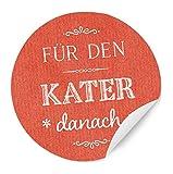 24 Aufkleber - Für den KATER danach! - Gastgeschenke Sticker für Party Survival Kit in ROT mit weißer Schrift, zur Hochzeit, Geburtstag, Party, MATTE Papieraufkleber (Packpapier Optik)